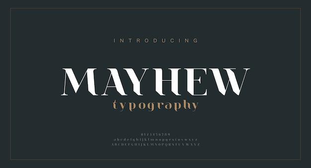 Carattere di lettere dell'alfabeto di lusso. disegni di moda minimalisti classici moderni. caratteri tipografici regolari maiuscoli e minuscoli.