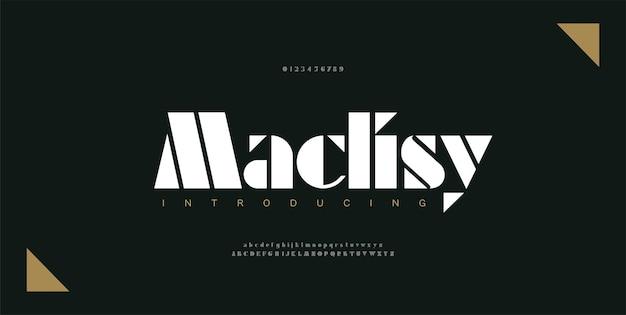 Carattere e numero di lettere dell'alfabeto di lusso. tipografia elegante moderno carattere serif decorativo concetto. illustrazione