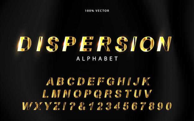 Alfabeto di lusso con stile dispersione d'oro