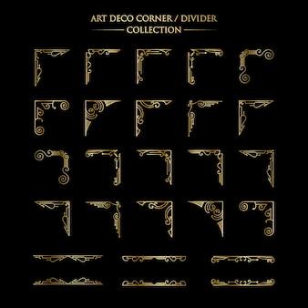 Elementi antichi di lusso art déco collezione grande bordi dorati cornici angoli divisori e intestazioni