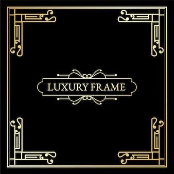 Elementi antichi di lusso in stile art deco grandi bordi dorati incorniciano angoli divisori e intestazioni