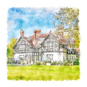 Illustrazione disegnata a mano di abbozzo dell'acquerello della germania di appartamento di lusso