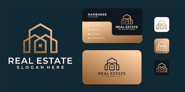 Vettore di logo di architettura di lusso con modello di biglietto da visita.