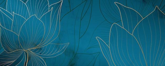 Sfondo artistico di lusso con fiori di loto oro e blu per i social media e la decorazione di banner web