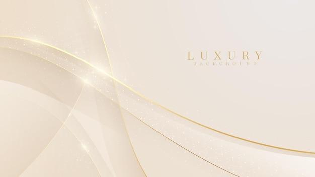 Sfondo di lusso con curva dorata, scena pastello astratta gialla sulla sensazione dolce e liscia, illustrazione vettoriale per il design.