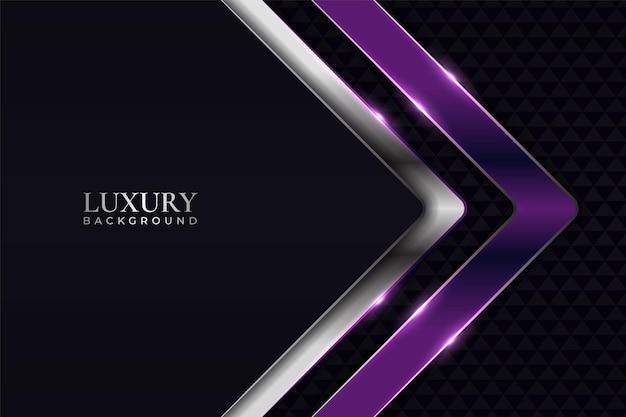 Sfondo di lusso a forma di freccia bagliore viola e argento al buio