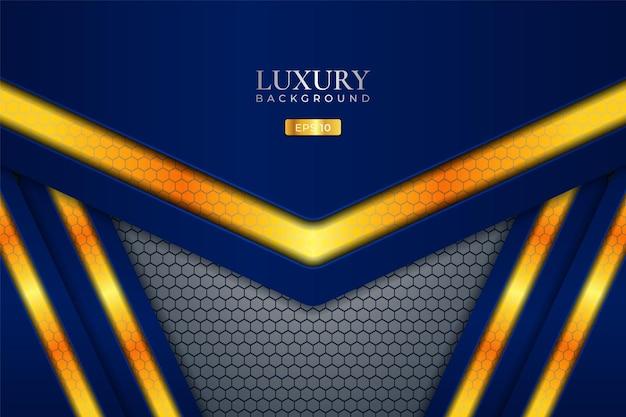 Sfondo di lusso esagono sovrapposto blu con oro elegante