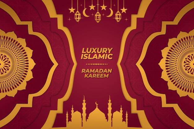 Sfondo di lusso islamico moschea ramadan kareem ornamento oro rosso sfumato