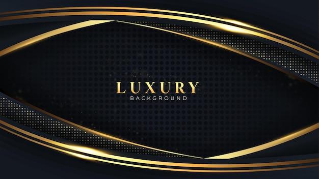Strato di sovrapposizione di vettore di sfondo di lusso sulla linea curva scura e nera punti scintillanti scintillii dorati