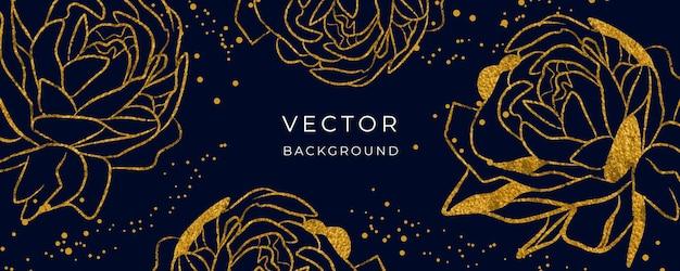 Il vettore di sfondo di lusso con fiori e punti metallici dorati decora l'arte della parete per carta da parati o stampa