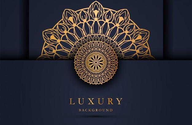 Sfondo di lusso con ornamento d'oro mandala