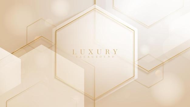 Sfondo di lusso con forma esagonale e linea dorata scintillante, design moderno della copertina sfumata. illustrazione vettoriale 3d.