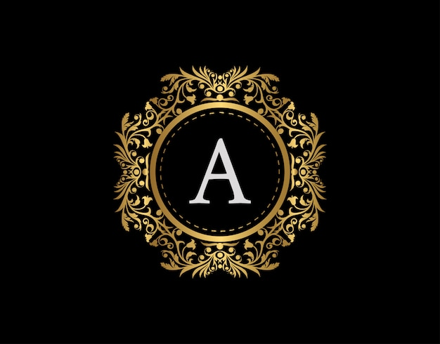 Logo della lettera a del distintivo di lusso. emblema calligrafico oro di lusso con bellissimo ornamento floreale classico. classy frame design illustrazione vettoriale.