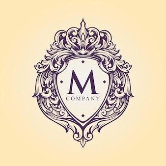 Illustrazioni di stile decorativo di fioritura del monogramma di logo del distintivo di lusso