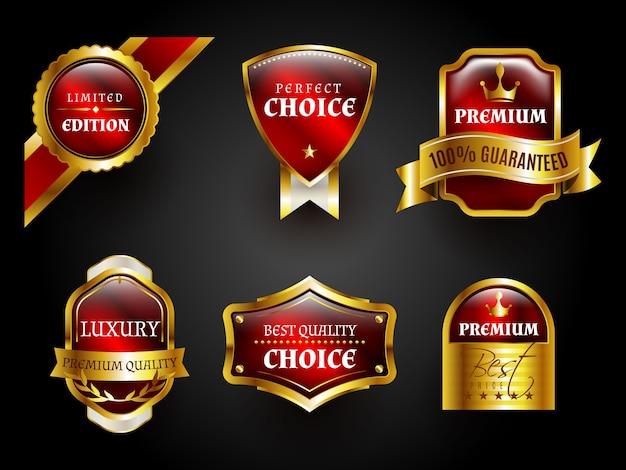 Distintivi di lusso oro e rosso