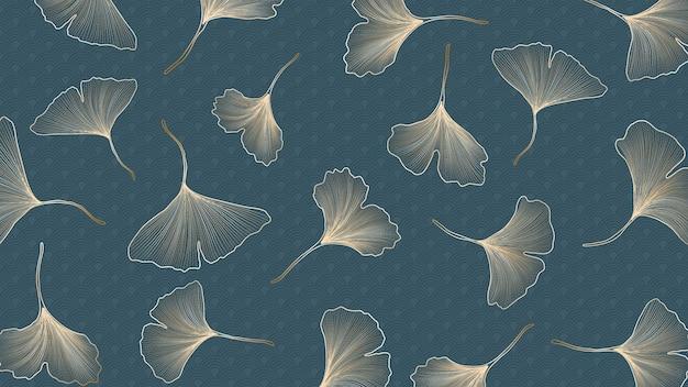 Banner di lusso con foglie di ginkgo dorato su sfondo blu con motivo.