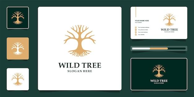 Design del logo di lusso albero di banyan e modello di biglietto da visita