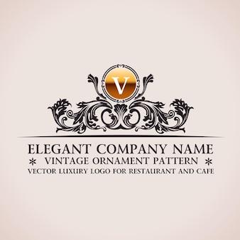 Logo barocco di lusso ornamento calligrafico vintage
