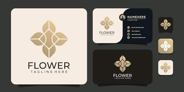 Logo del telaio dell'ornamento della natura del fiore della foglia del fiore di bellezza di lusso per il business