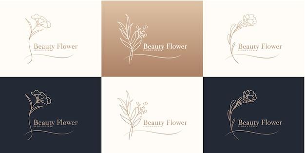 Modello di progettazione del logo del fiore di bellezza di lusso