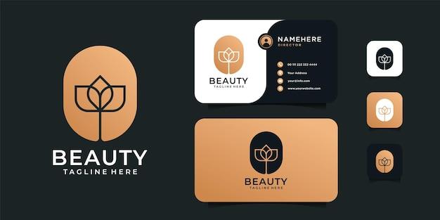 Design del logo fiore di bellezza di lusso