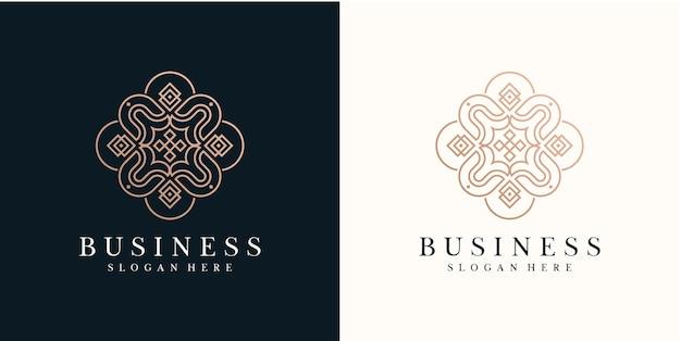Icona di stile di arte della linea del logo minimalista di bellezza di lusso per la cura della pelle di saloncosmeticfashion