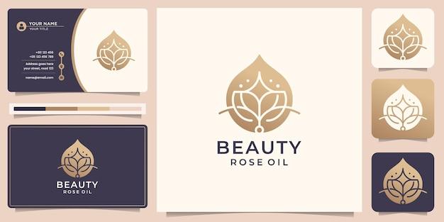 Logo di olio di rosa di bellezza di lusso design di olio essenziale di loto di bellezza spa con modello di biglietto da visita vettore premium