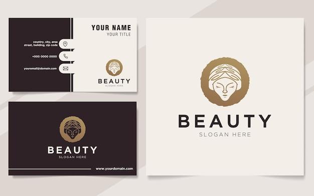 Modello di logo e biglietto da visita delle donne di bellezza di lusso