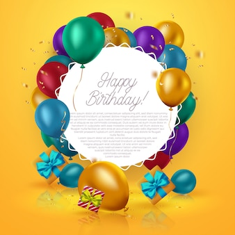 Biglietto di auguri di compleanno di lusso con scatole regalo colorate, coriandoli e palloncini compleanno su sfondo arancione