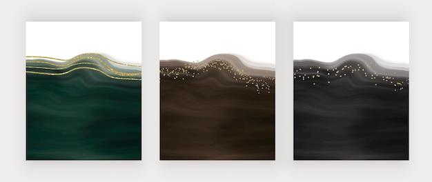 Sfondi acquerello con pennellate nere di lusso con linee glitter e coriandoli