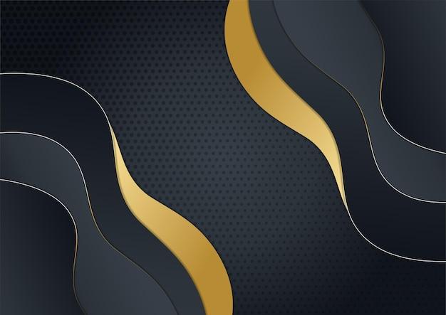 Fondo oro nero di lusso. banner di presentazione aziendale elegante. illustrazione vettoriale.