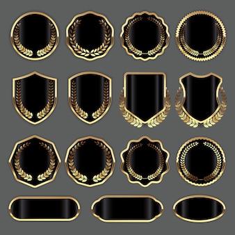 Collezione di badge in bianco di lusso nero e oro