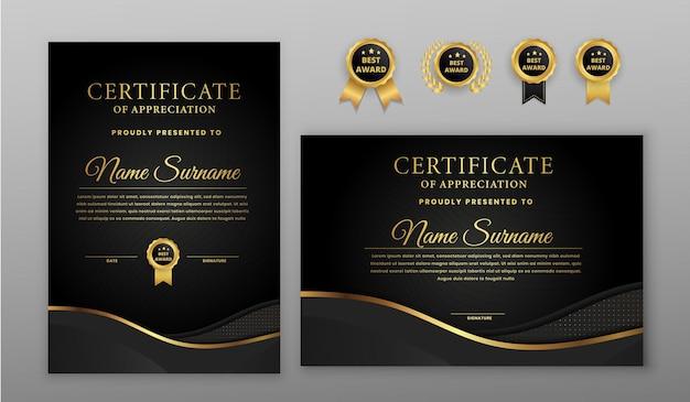 Certificato mezzitoni di lusso nero e oro con badge e modello di bordo
