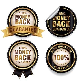 Collezione di badge di garanzia di rimborso nero e oro di lusso
