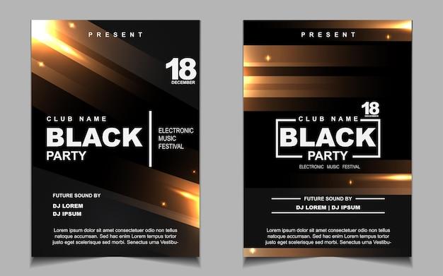 Volantino musicale o poster di lusso per feste da ballo notturne nere e dorate