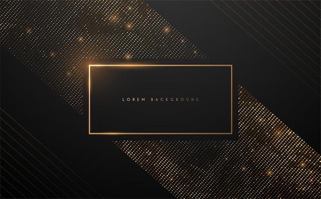 Sfondo quadrato nero e oro di lusso