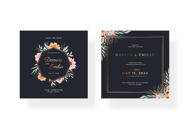 Modello di carta di matrimonio quadrato nero e oro di lusso con acquerello floreale