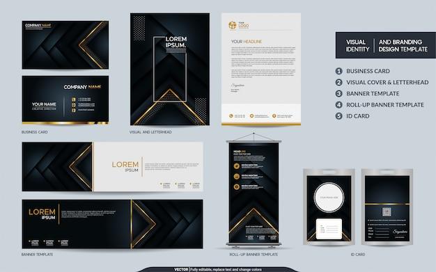 Set di marchio di lusso in oro nero con elementi decorativi e identità visiva del marchio con strati sovrapposti astratti