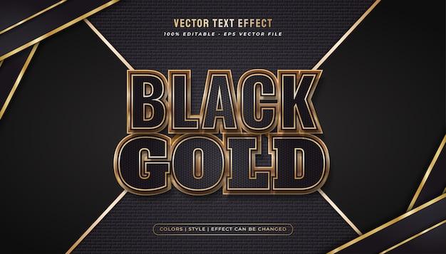 Stile di testo nero e oro di lusso con effetto lucido