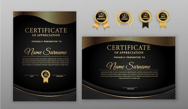 Certificato di lusso linee waby nero e oro con badge e modello di bordo