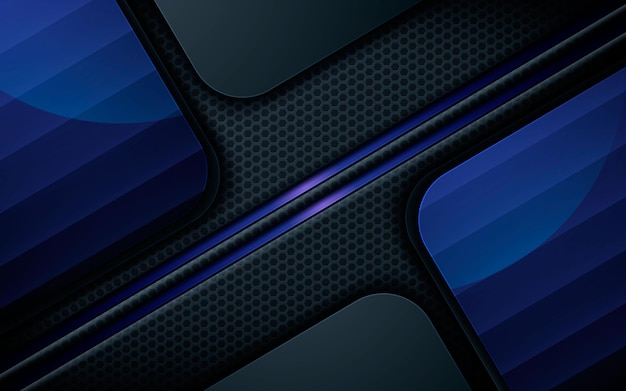 Sfondo di strati sovrapposti neri di lusso con luce blu