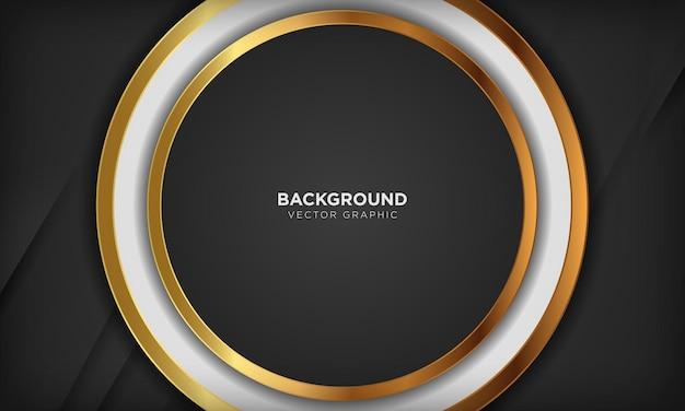Sfondo di lusso a forma di cerchio bianco e nero con linee dorate