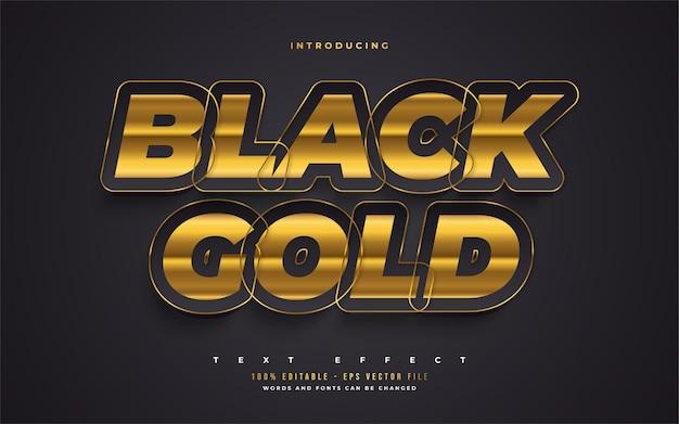 Stile di testo nero e oro audace di lusso con effetto in rilievo. effetto stile testo modificabile