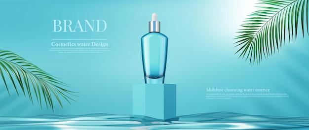 Pacchetto bottiglia di lusso crema per la cura della pelle con foglie di palma e scatola quadrata sulla superficie dell'acqua, 3d Vettore Premium