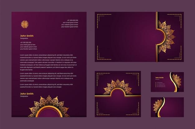 Identità di marca di lusso o modello di progettazione stazionaria con arabesque di mandala ornamentale di lusso, biglietto da visita, carta intestata