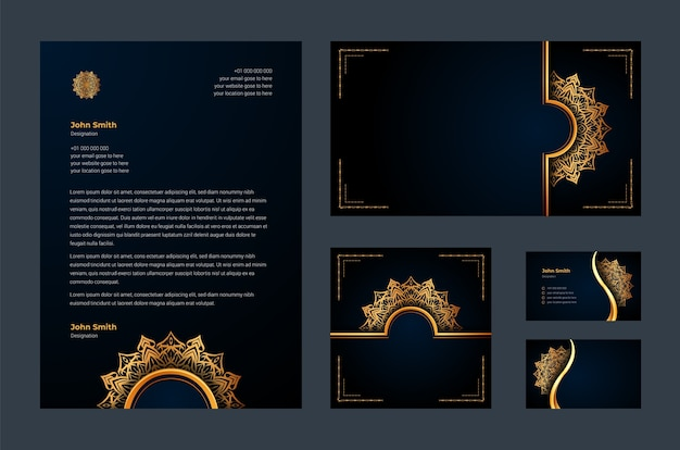 Identità del marchio di lusso o modello di disegno stazionario con arabeschi di mandala ornamentali di lusso, biglietti da visita, carta intestata