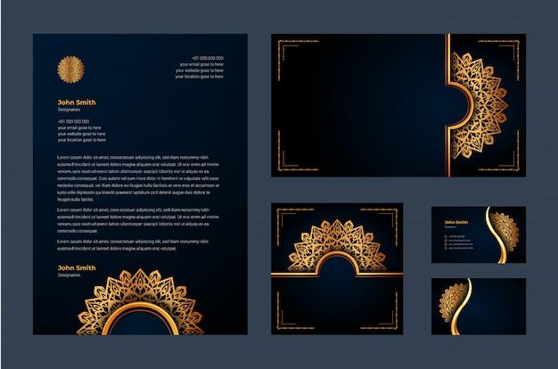 Identità di marca di lusso o modello di disegno stazionario con arabesque di mandala ornamentale di lusso Vettore Premium