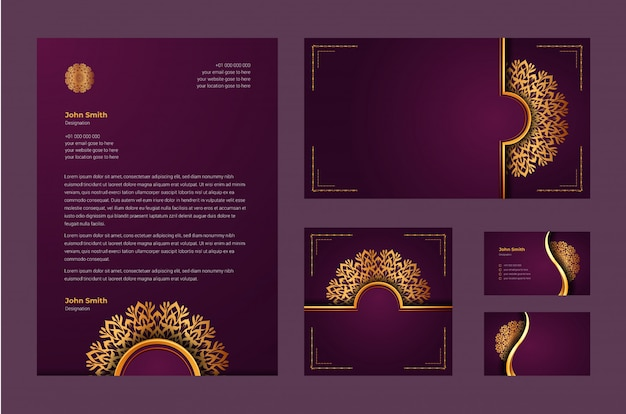 Identità di marca di lusso o modello di disegno stazionario con arabesque di mandala ornamentale di lusso