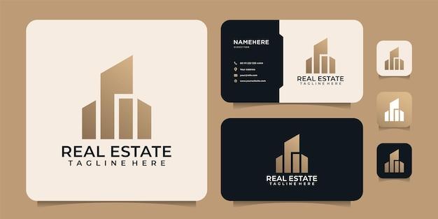 Modello di progettazione del logo immobiliare di architettura di edifici di lusso per azienda