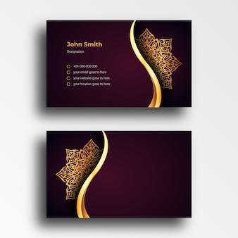 Modello di disegno di biglietto da visita di lusso con sfondo arabesco mandala ornamentale di lusso